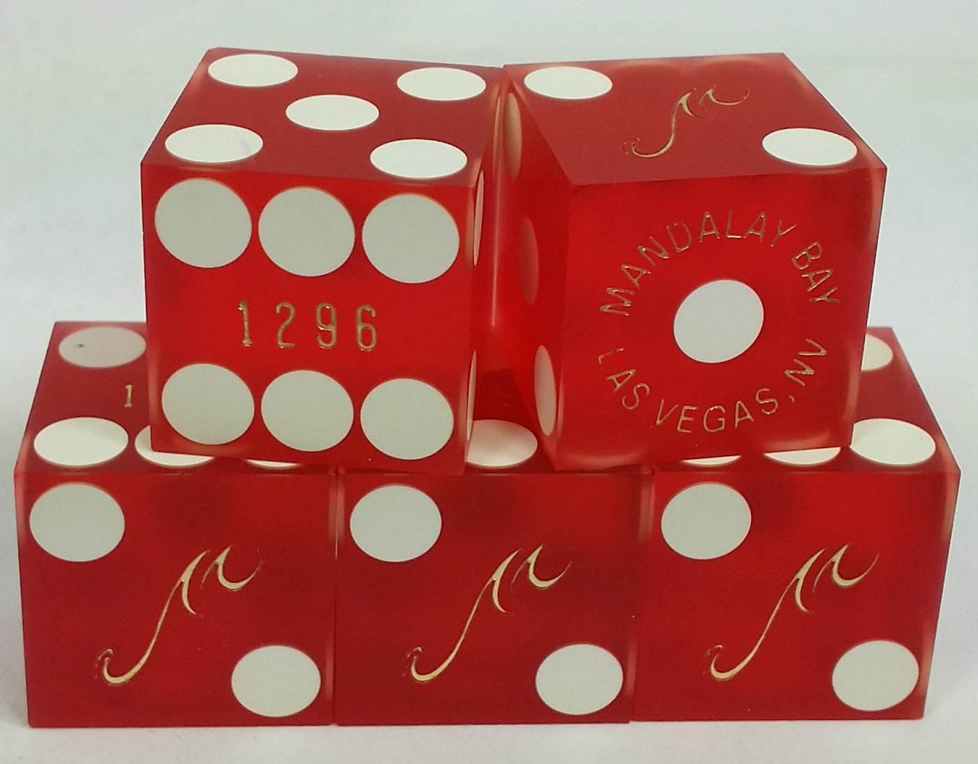 Stick of 5 MANDALAY BAY CASINO Las Vegas NV matching numbers USED DICE