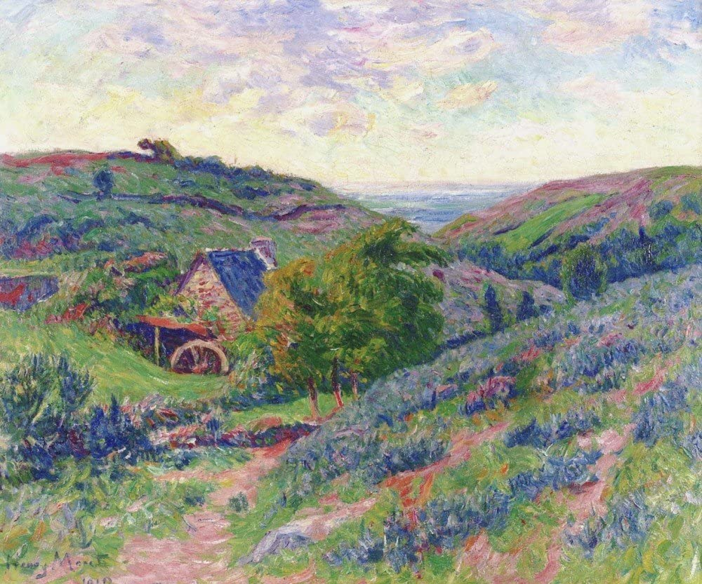 """Amazon.com: The Museum Outlet - The Mill at Doualan, Finistre, 1910,  Stretched Canvas Gallery Wrapped. 11.7x16.5"""": Home & Kitchen"""