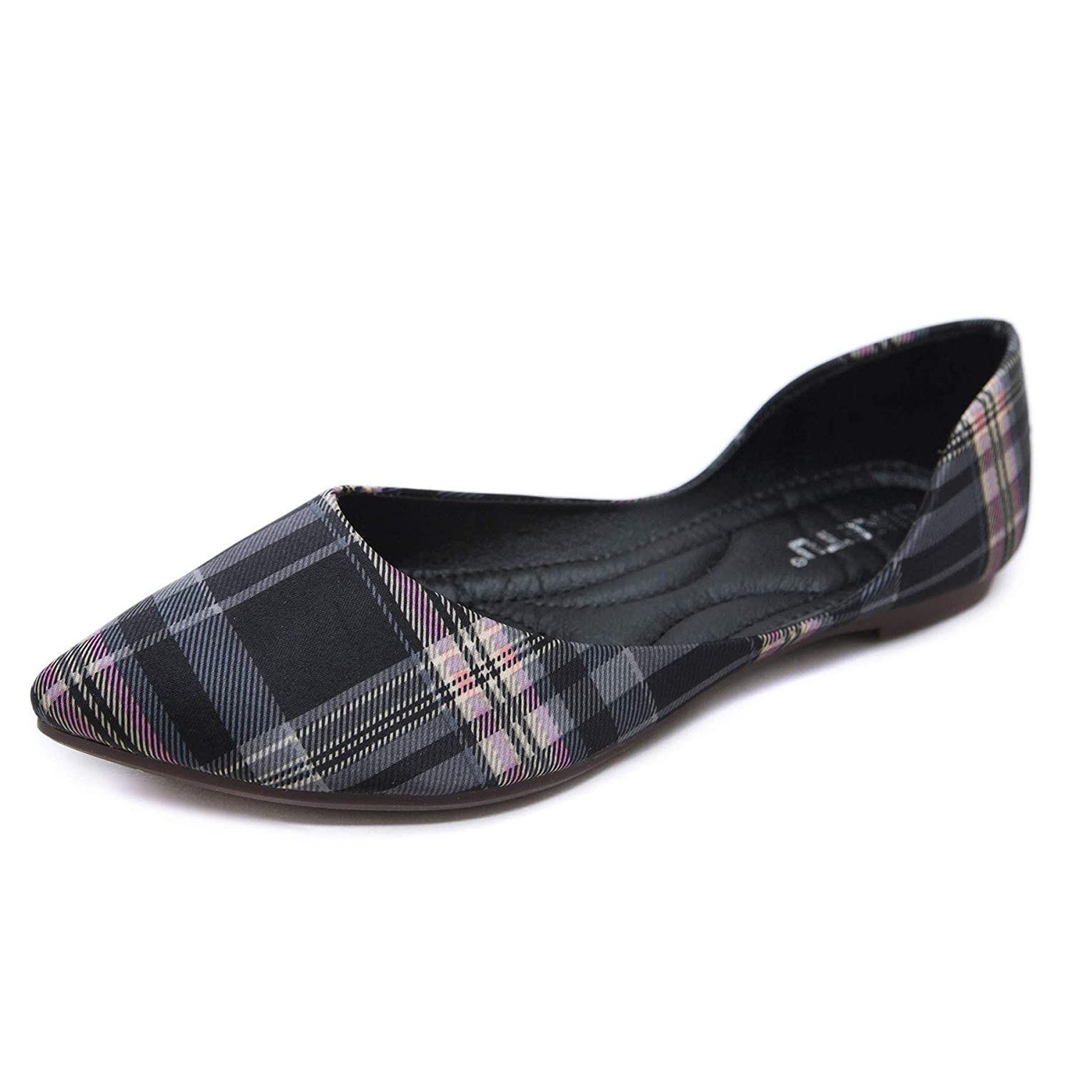 Orangetime Womens Classic Pointy Toe Shoes Ballet Flats Plaid Flat Shoes for Work Slip On Moccasins