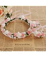Meiliy Bridal Flower Garland Crown Flower Headband Hair Wreath Halo with Flower Wrist Corsage for Wedding Festivals