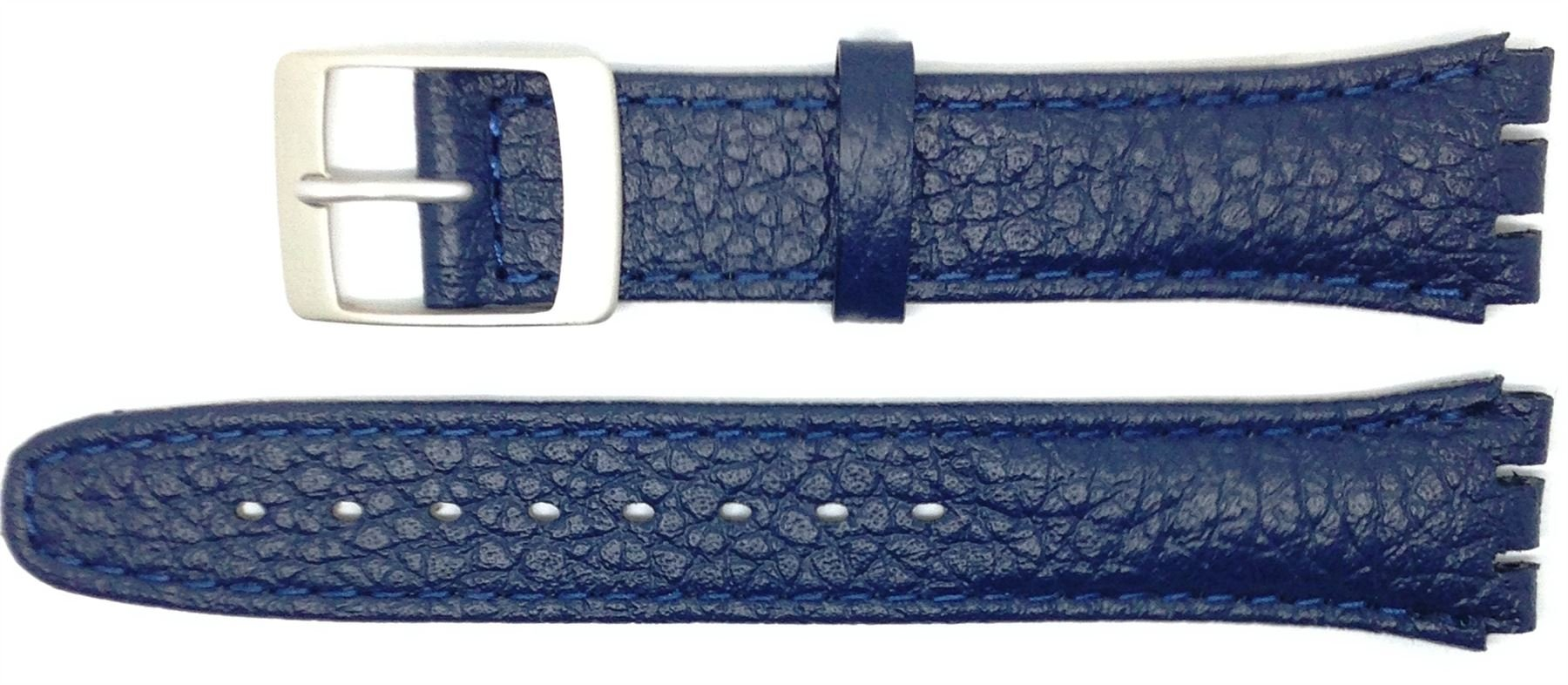 New 17mm (20mm) Sized Genuine Leather Strap Compatible for Swatch Watch - Ink Blue - 400JJ20