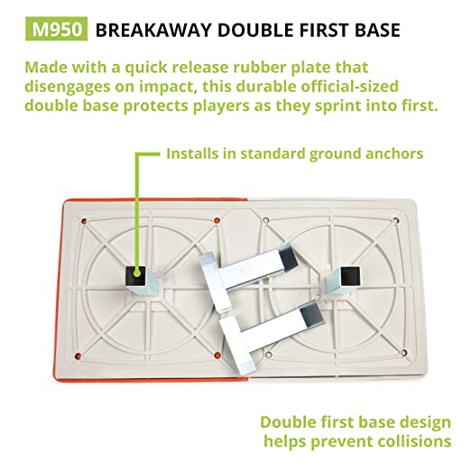 Amazon.com : Orange U0026 White Double First Base: Champion Sports Break Away  Base With Ground Anchor System : Baseball Bases : Sports U0026 Outdoors  Double First