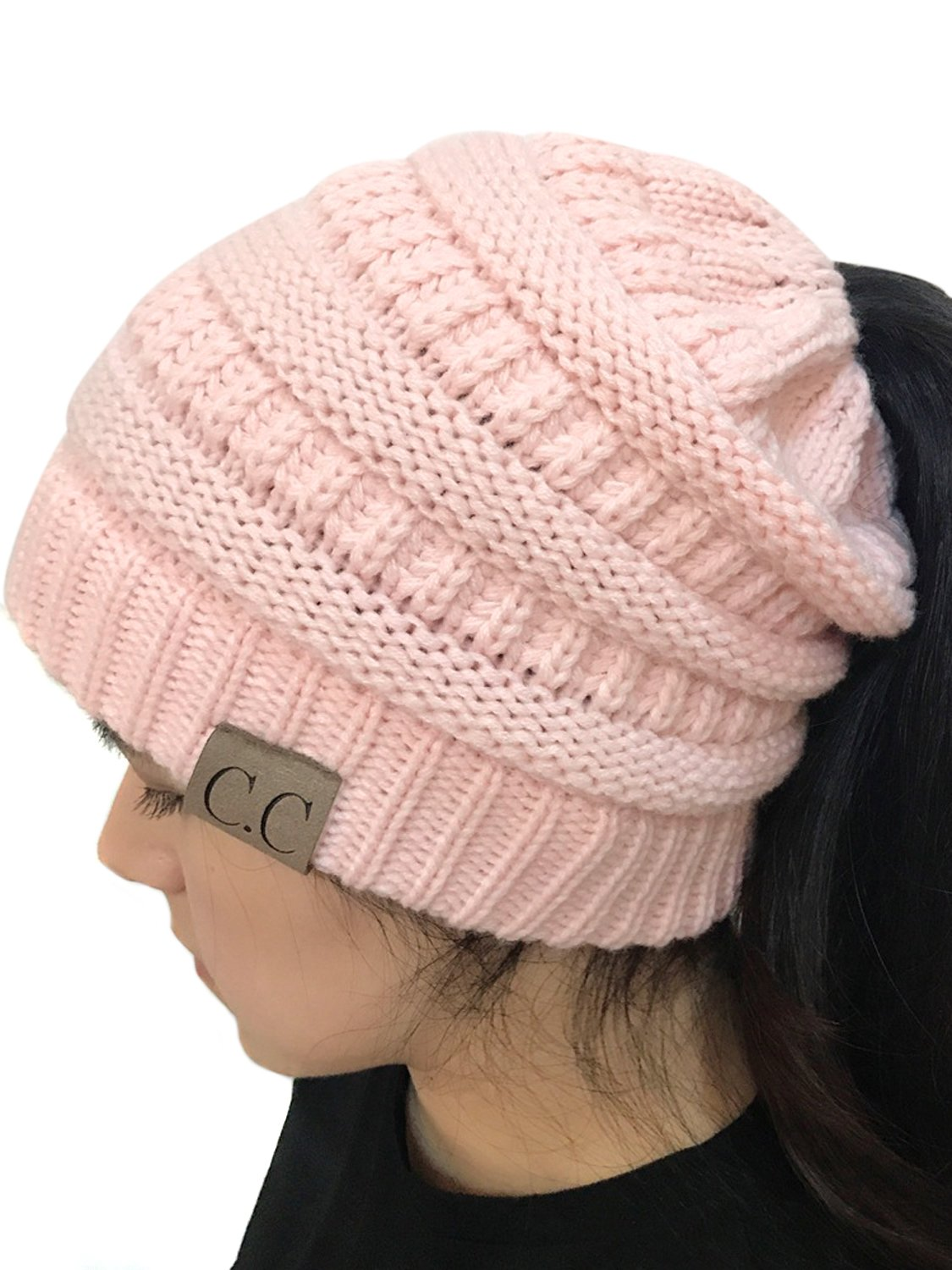 Joeoy Women's Light Pink Stretch Messy High Bun Ponytail Beanie Multi Color Cable Knit Hat Cap