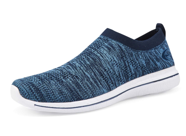 Women's Slip-On Sneakers Mesh Loafer Casual Beach Street Walking Shoes (7 B(M) US, Blue/White)