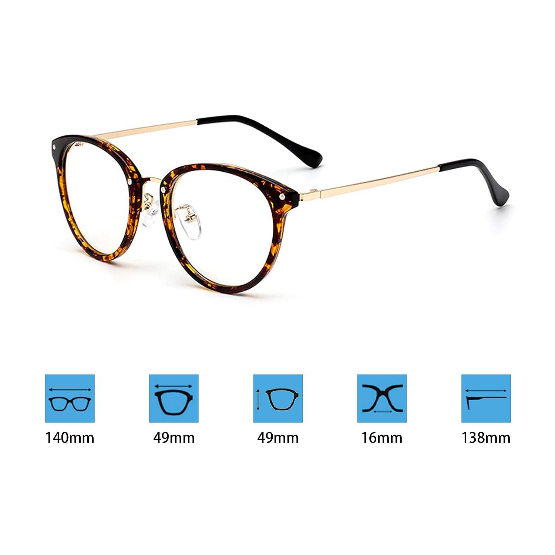 JoXiGo Retro Brille f/ür Damen Herren Ohne St/ärke Klassische Vintage Rahmen Brillenfassung Dekobrillen mit Etui