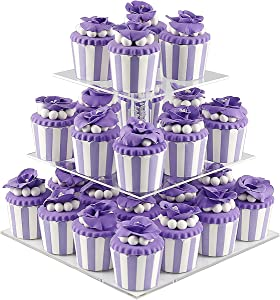DYCacrlic 3 Tiers Party Cupcake Stand, Tiered Wedding Cupcake Holder, Acrylic Cupcakes Displays Tower, Clear Round Cake Stands for Dessert Pastry,Kids Baby Shower Birthday - Bubble Rod New Style
