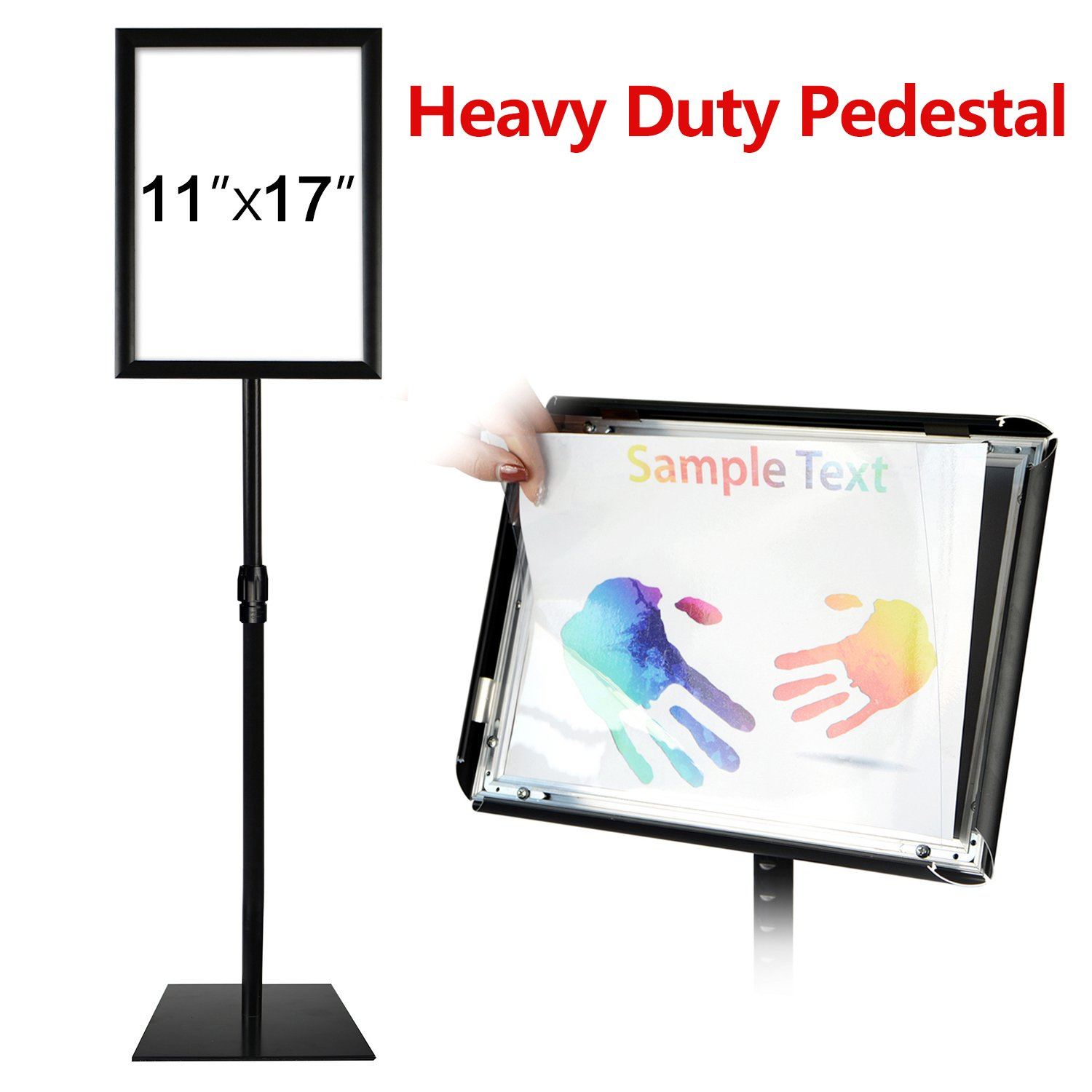 T-SIGN Adjustable Heavy Duty Pedestal Poster Stand, Square Steel Base, 11 x 17 Inch Aluminum Snap Open Frame, Vertical and Horizontal Displayed, Black by T-SIGN