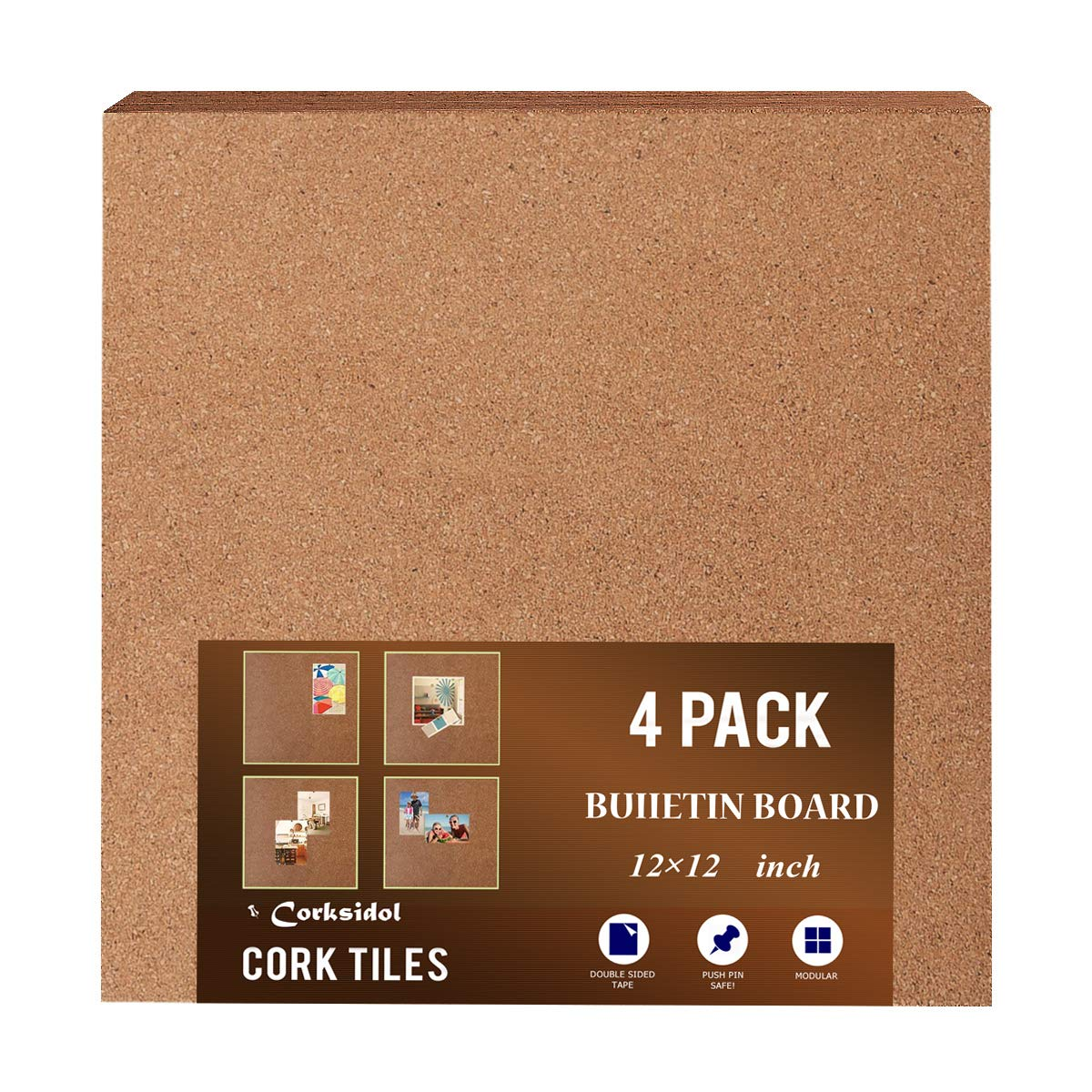 Natural Cork, Cork Board 12' x 12' x 1/2'Tiles(Strong Self Adhesive) for Floor/Wall/DIY(Pack of 4), Corkboard Cork Board 12 x 12 x 1/2Tiles(Strong Self Adhesive) for Floor/Wall/DIY(Pack of 4)