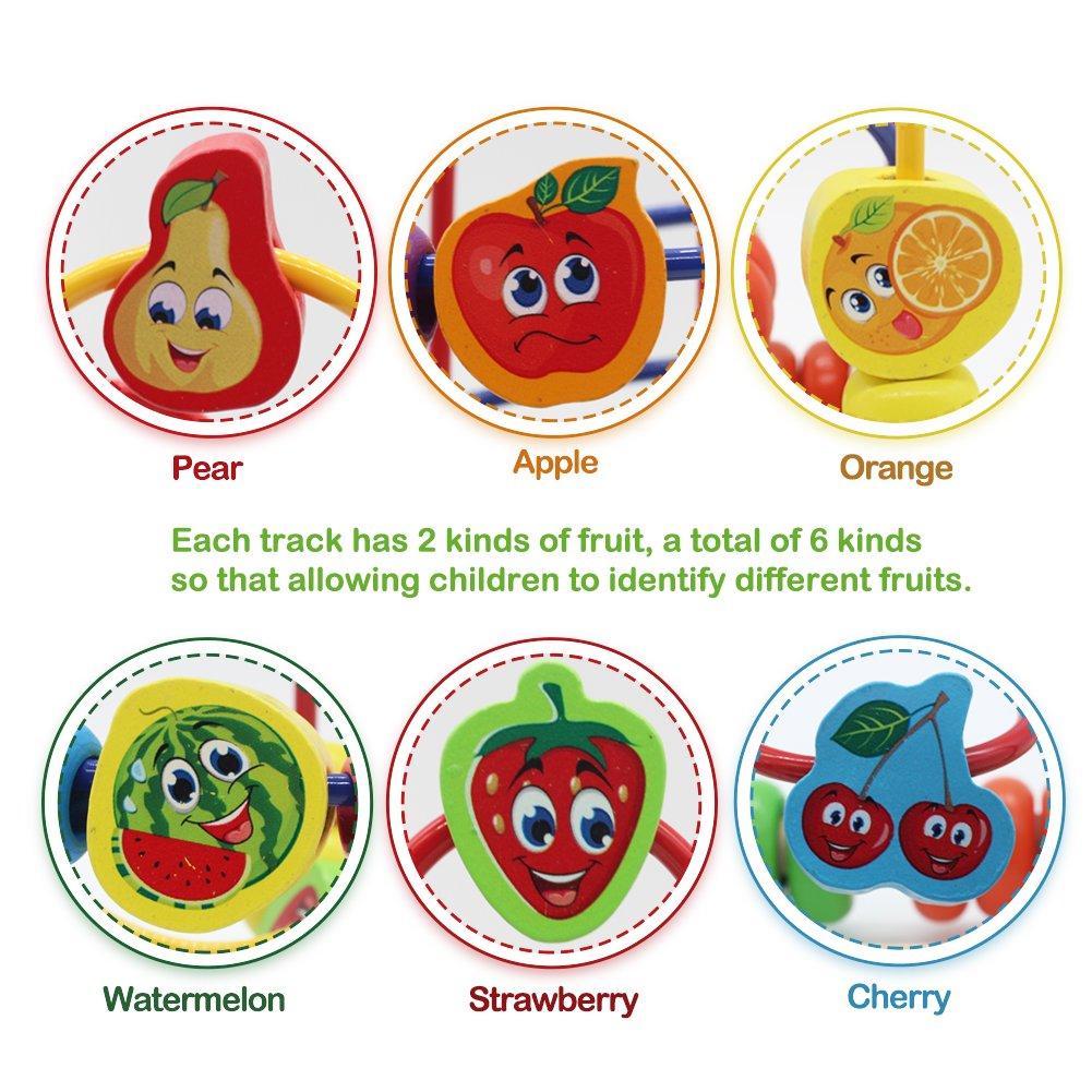 Nuheby Jouet Bois Boulier Labyrinthe Boulier Enfant Jeu Eveil Bebe Perles  Bois avec Coloré Fruit Labyrinthe 8290b5bb1d13
