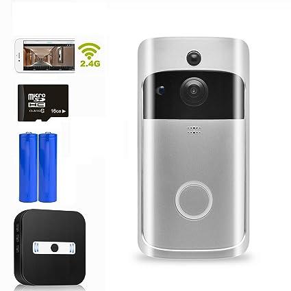 Video Doorbell Camera,16GB Smart Home Visual Doorbell 720p HD WiFi Security Camera Real-