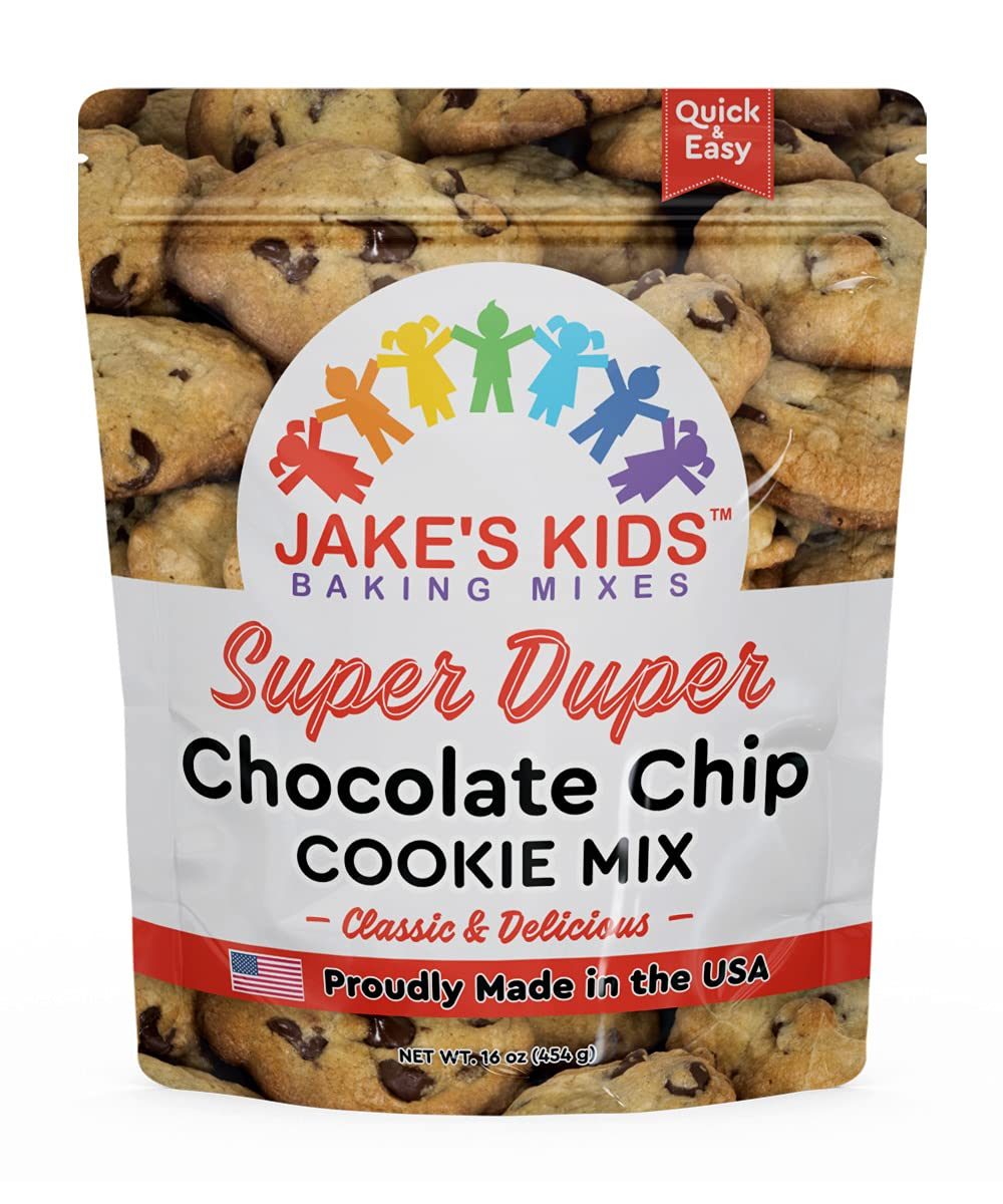 Jake's Kids Super Duper Chocolate Chip Cookie Mix makes 24 homemade cookies, simply add an egg and butter