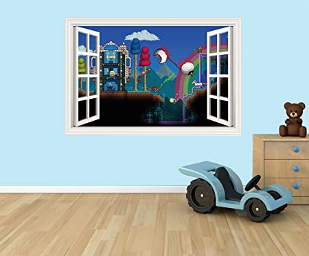 Terraria 3d Effect Window In Wall Vinyl Sticker Suitable For Walls