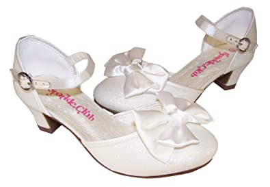 Girls ivory sparkle low heeled girls bridesmaid flower girl shoes:  Amazon.co.uk: Shoes & Bags