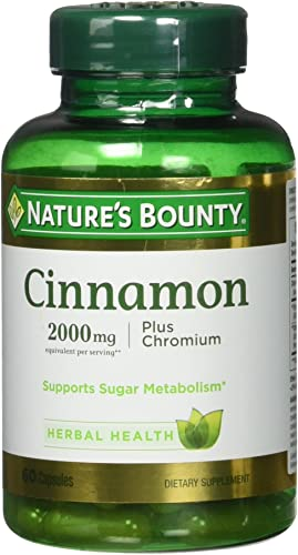 Nature s Bounty Cinnamon 2000mg Plus Chromium, Dietary Supplement Capsules 60 ea Pack of 3