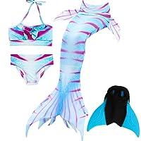 Das beste Filles Maillot de Bain Queues de Sirène avec Monopalme Déguisement de Sirène 4pcs Bikini Ensembles, 2018Nouveau Style Shark Cosplay Costume Mermaid Tail Monofin pour la Natation