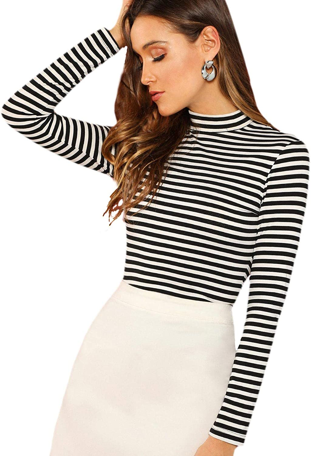 Floerns Women S High Neck Long Sleeve Slim Fit Stretch Striped T Shirts At Amazon Women S Clothing Store