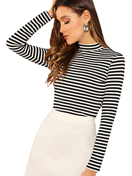 3e44d9f9775d Floerns Women's High Neck Long Sleeve Slim Fit Stretch Striped T-Shirts  Black and White