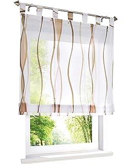 HongYa Raffrollo mit Wellen Druck Transparenter Voile Raffgardine Vorhang mit Schlaufen H/B 140/60 cm Creme Braun Möbel & Wohnaccessoires Rollos & Jalousien