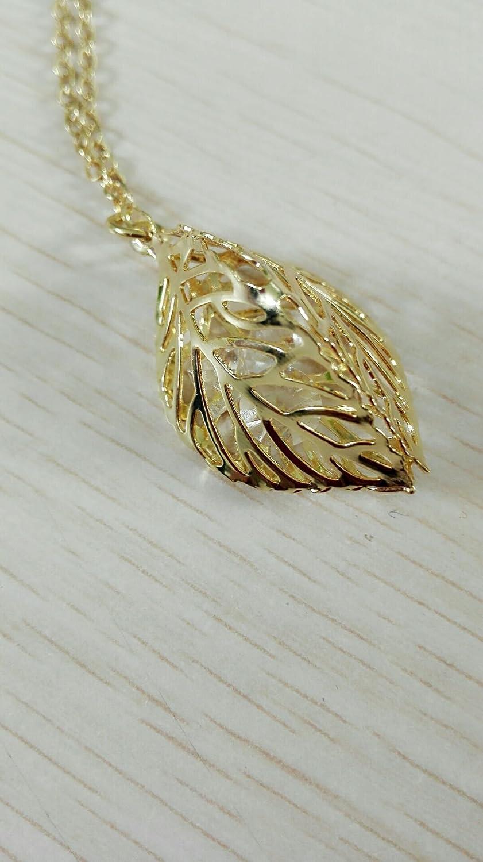SENFAI Diaphanous Hollow leaf Pendant necklace Crystal Loose Diamond Necklace Female Necklace Gift Rhinestone