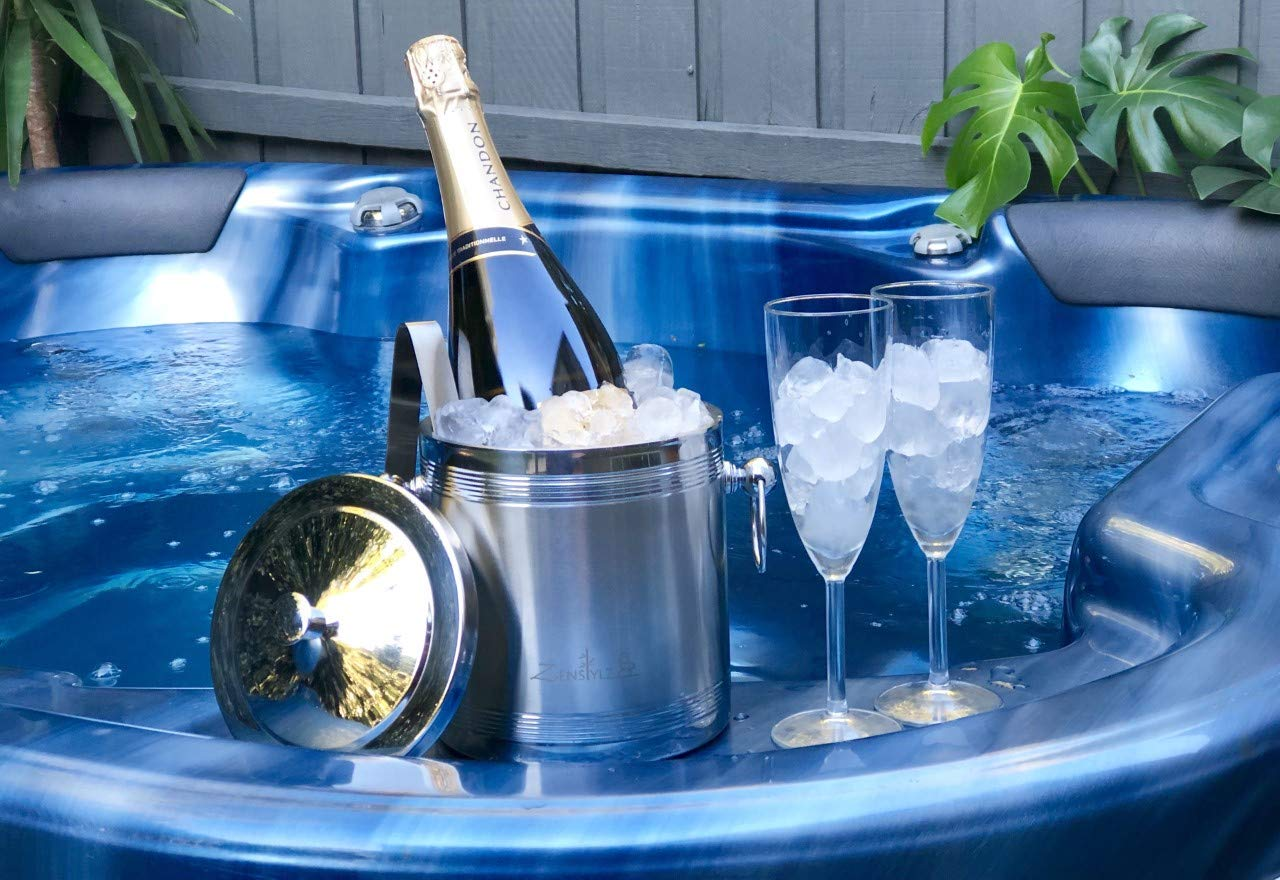 Ice Bucket with Tongs, Insulated Double Wall Design, Premium Quality Brushed Stainless Steel, Handles, Great as a Gift, Perfect as a Champagne Chiller, Wine Chiller, Beer Bucket or Ice Box by Zenstylz