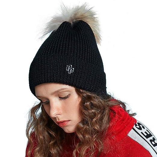 a8917fe36e8 Riorex Women s Winter 40% Wool Soft Knit Yarn Knit Cap Pompom Raccoon Ball  Cute Style