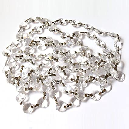 3 Feet-Clear Asfour Crystal 30/% Lead Crystal Garland Chain With Silver Bowtie