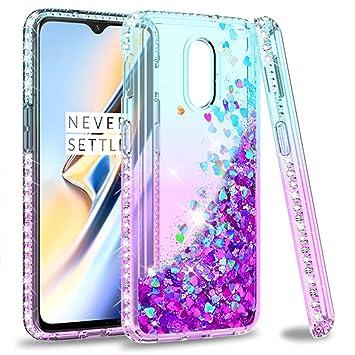 LeYi Funda Oneplus 6T Silicona Purpurina Carcasa,Transparente Cristal Bumper Telefono Gel Fundas Case Cover para Movil Oneplus 6T ZX Púrpura/Azul