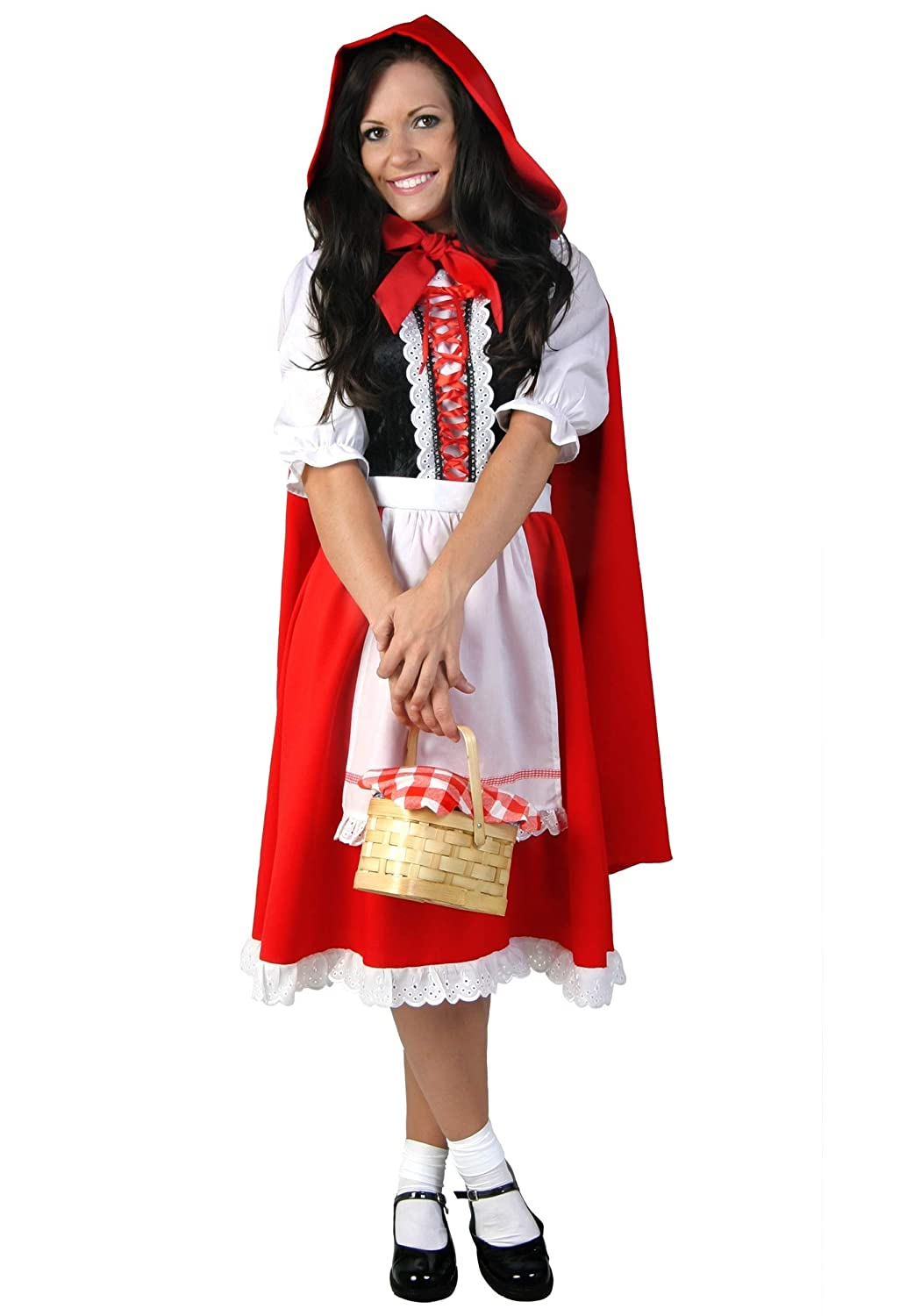 31e2d10ab09 Amazon.com  Deluxe Little Red Riding Hood Costume for Women Red Riding Hood  Dress and Cape  Clothing