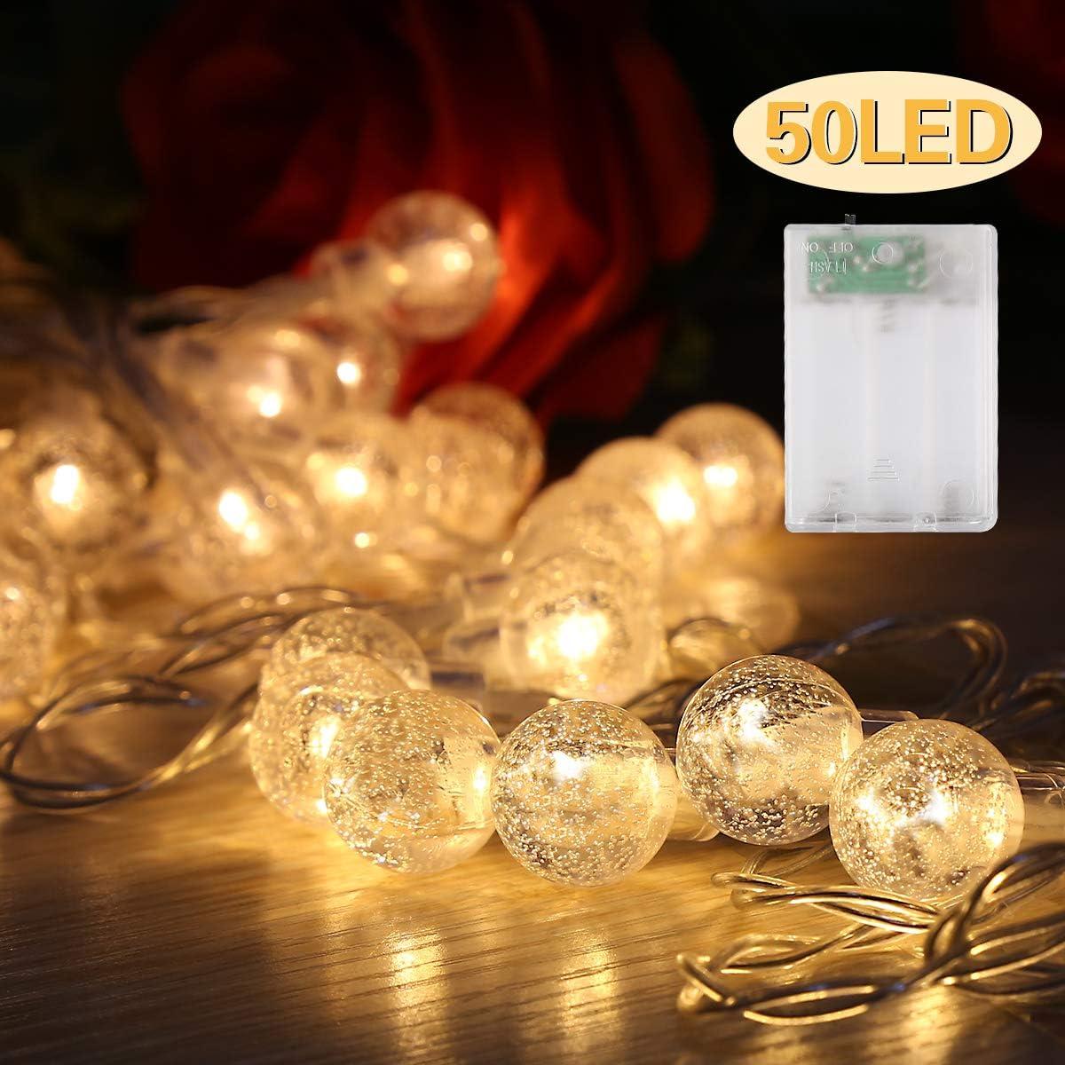 Guirlande lumineuse de jardin maison terrasse Pour jardin 50 LED Blanc chaud Avec boule en cristal /Étanche d/écoration de No/ël et f/êtes 4 m Guirlande lumineuse ext/érieure
