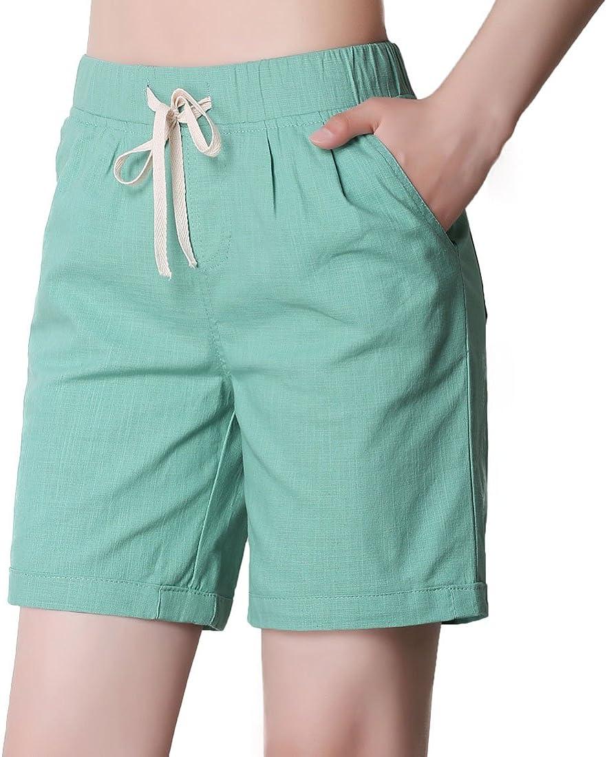 CHARTOU Womens Modest Loose Elastic-Waisted Bermuda Drawstring Casual Shorts