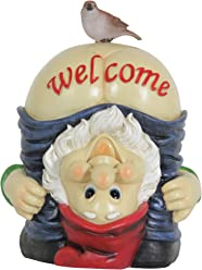 """Exhart Full Moon Welcome Gnome Garden Statue, Resin, Solar Powered, 9"""" L x 9"""" W x 12"""" H"""