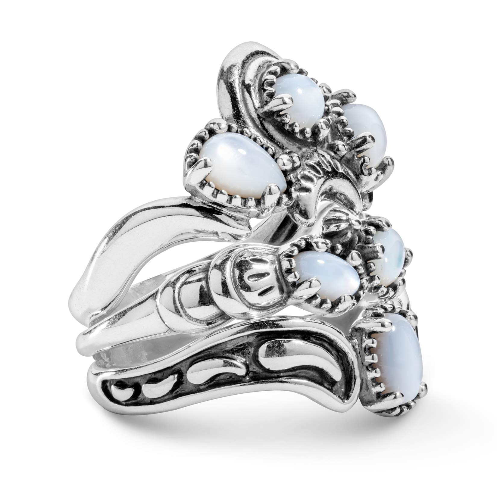 American West Sterling Silver White Mother of Pearl Stacking Ring Set Sizes 6