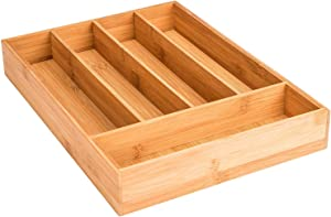 "Royal Brands Bamboo Utensil Drawer Organizer Tray, Bamboo Cutlery Drawer Organizer Tray, (14.25"" x 10.25"" x 2"")"