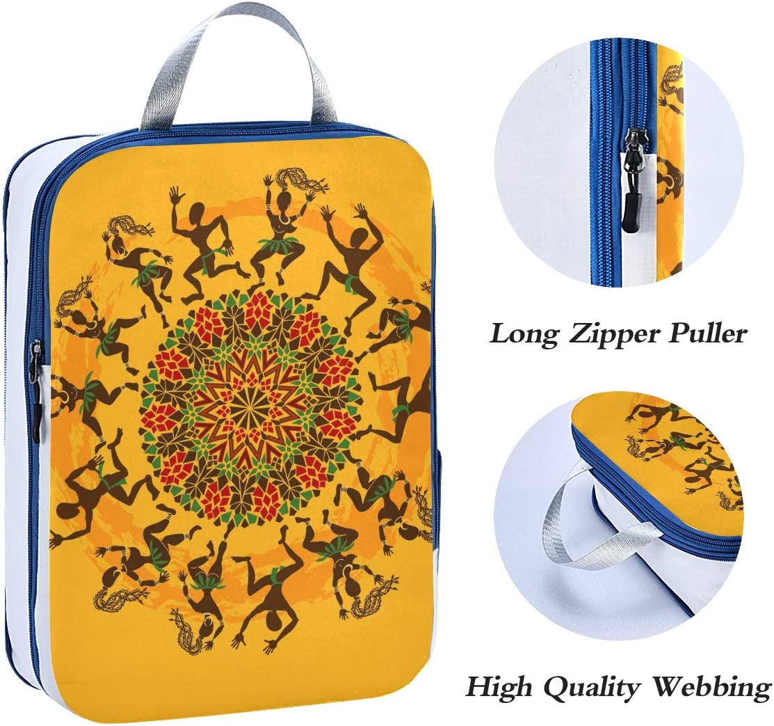 Africa Dancers 3 Set Packing Cubes,2 Various Sizes Travel Luggage Packing Organizers t