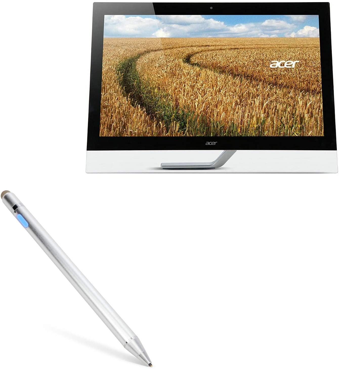 "Acer T272HUL (27"") Stylus Pen, BoxWave [AccuPoint Active Stylus] Electronic Stylus with Ultra Fine Tip for Acer T272HUL (27"") - Metallic Silver"