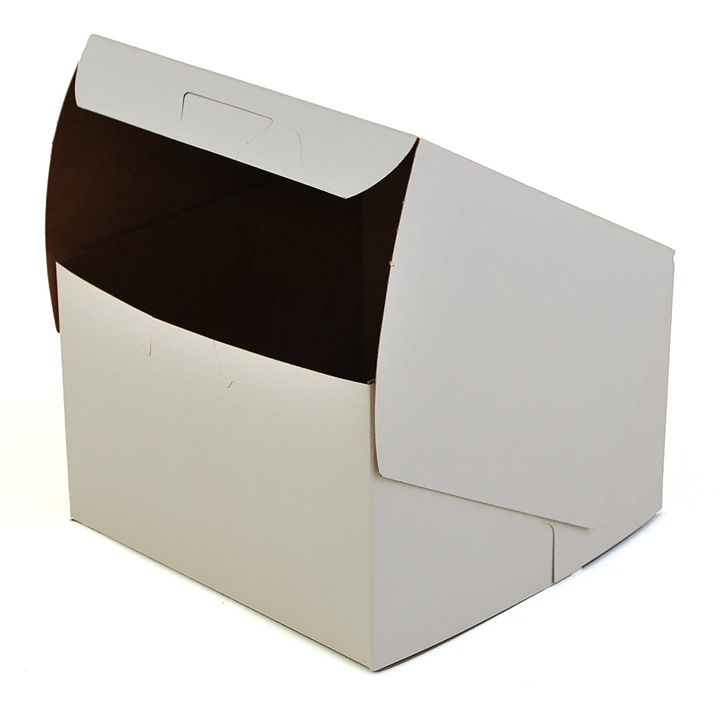 Amazon.com: 0909 Arcilla revestido Kraft Cartón Lock Corner Bakery Caja Blanca no Ventana, 6