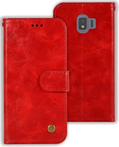 Zoeirc Wallet Case for Samsung Galaxy J2 Core/J2 2019/J2 Pure/J2 Dash/J2 Shine, PU Leather Wallet Flip Phone Case Cover with Card Slots for J2 (red)