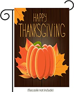 """Happy Thanksgiving Garden Flag, Pumpkin and Foliage Thanksgiving Yard Flag, Double-Sided12.5"""" x 18"""""""