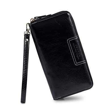 8eeded21c752 FT Funtor Wristlet Wallets for Women, Ladies PU Vegan Leather Clutch Wallet  Zip around Phone Purse Card Holder Organizer