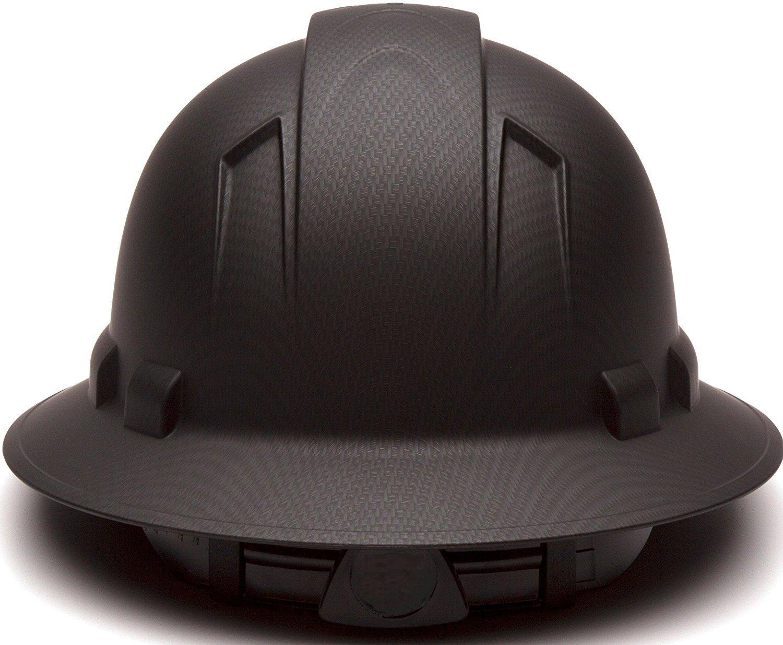 Full Brim Hard Hat, Adjustable Ratchet 4 Pt Suspension, Durable Protection safety helmet, Graphite Pattern Design, Black Matte, by Tuff America