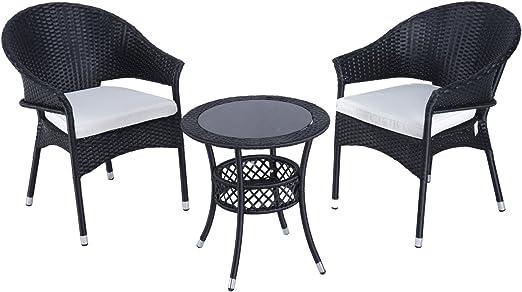 Conjunto de sillones y mesa para jardín resina trenzada, 2 sillones, 1 mesa mimbre con 027 Primo, color negro: Amazon.es: Jardín