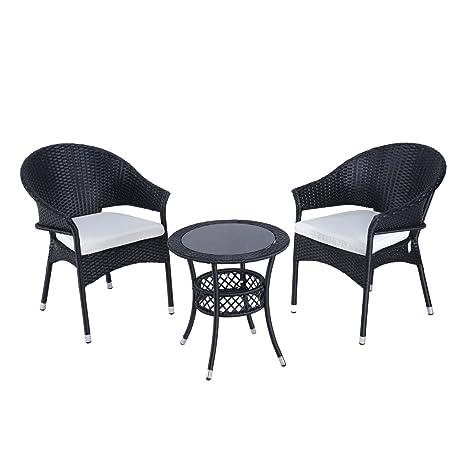Conjunto de sillones y mesa para jardín resina trenzada, 2 ...