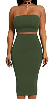 dfb5fbc4bc33 Ropaus Womens Sexy Off Shoulder Bandeau Long Sleeve Backless Crop Top Bodycon  Midi Skirt 2 Pieces