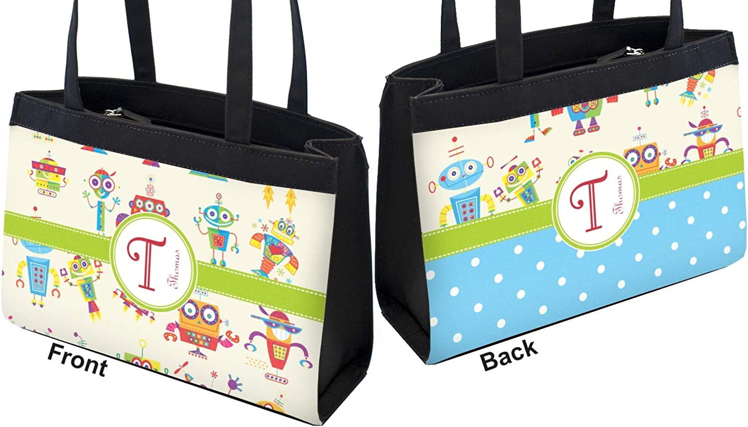 Rocking Robots Zippered Everyday Tote Personalized Front /& Back