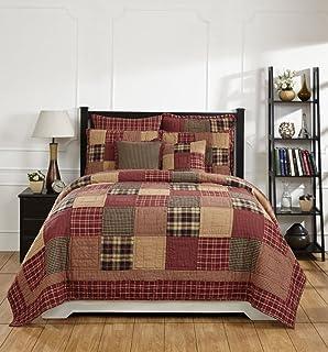 Amazon.com: Queen Cranberry Floral Patchwork Quilt Set: Home & Kitchen : brown patchwork quilt - Adamdwight.com