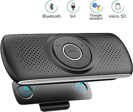 AGPTEK Vivavoce Auto Bluetooth 4.2 con Siri Assistente Comandi
