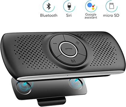 Port/átil Mini dise/ñado Inteligente inal/ámbrico Bluetooth Manos Libres Kit de Coche Clip de Visera Altavoz Llamadas seguras con Manos Libres Mientras Conduce Altavoz del Coche