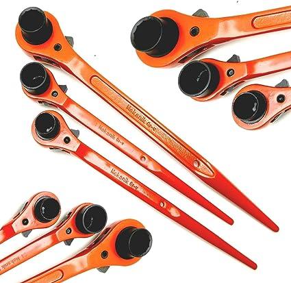 10 17 19 30mm Hardened CrV Scaffolding Ratchet Podger Spanner Wrench Socket UK
