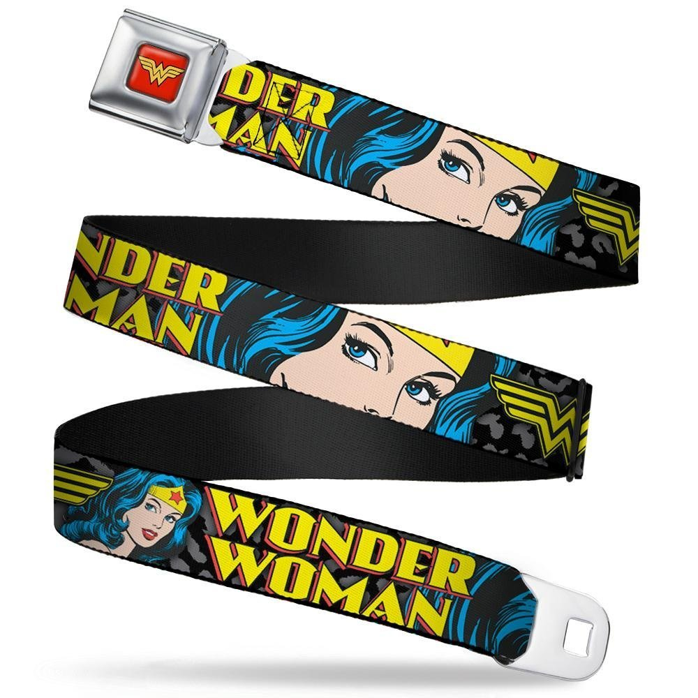 Buckle-Down Seatbelt Belt - WONDER WOMAN w/Face C/U Leopard Black/Gray - 1.5'' Wide - 24-38 Inches in Length by Buckle Down (Image #1)