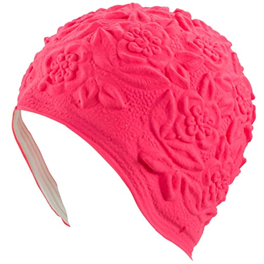 1950s Style Hats for Sale Latex with Embossed Flower Pattern Ornament Swim Bathing Cap ( Available in 6 Colors) $14.99 AT vintagedancer.com